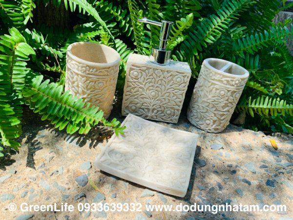 Bộ chai đựng xà phòng bằng đá nhân tạo Green Life